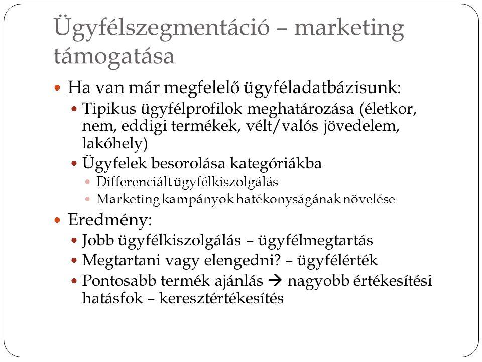 Ügyfélszegmentáció – marketing támogatása Ha van már megfelelő ügyféladatbázisunk: Tipikus ügyfélprofilok meghatározása (életkor, nem, eddigi termékek, vélt/valós jövedelem, lakóhely) Ügyfelek besorolása kategóriákba Differenciált ügyfélkiszolgálás Marketing kampányok hatékonyságának növelése Eredmény: Jobb ügyfélkiszolgálás – ügyfélmegtartás Megtartani vagy elengedni.