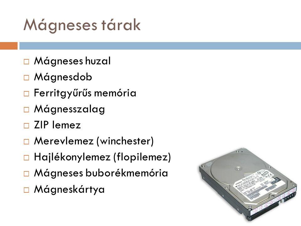 Mágneses tárak  Mágneses huzal  Mágnesdob  Ferritgyűrűs memória  Mágnesszalag  ZIP lemez  Merevlemez (winchester)  Hajlékonylemez (flopilemez)