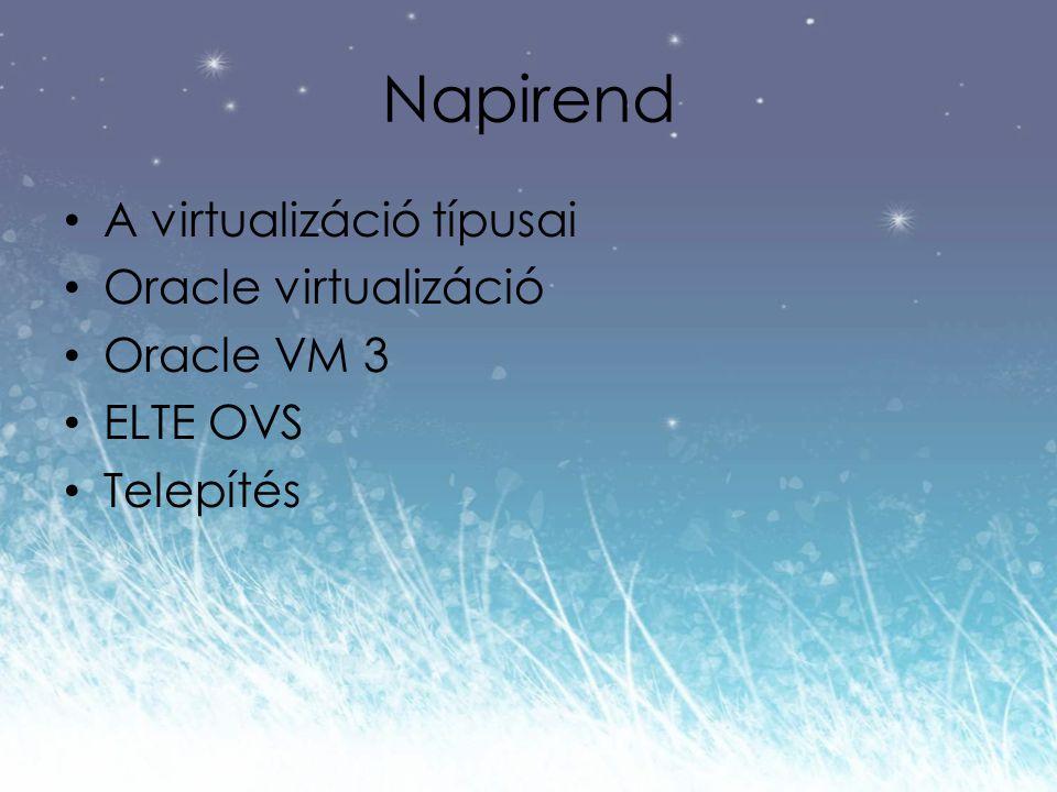 Napirend A virtualizáció típusai Oracle virtualizáció Oracle VM 3 ELTE OVS Telepítés