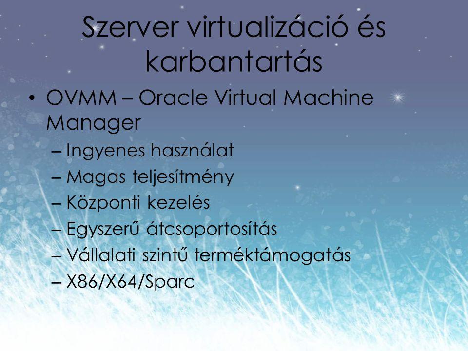 Szerver virtualizáció és karbantartás OVMM – Oracle Virtual Machine Manager – Ingyenes használat – Magas teljesítmény – Központi kezelés – Egyszerű átcsoportosítás – Vállalati szintű terméktámogatás – X86/X64/Sparc