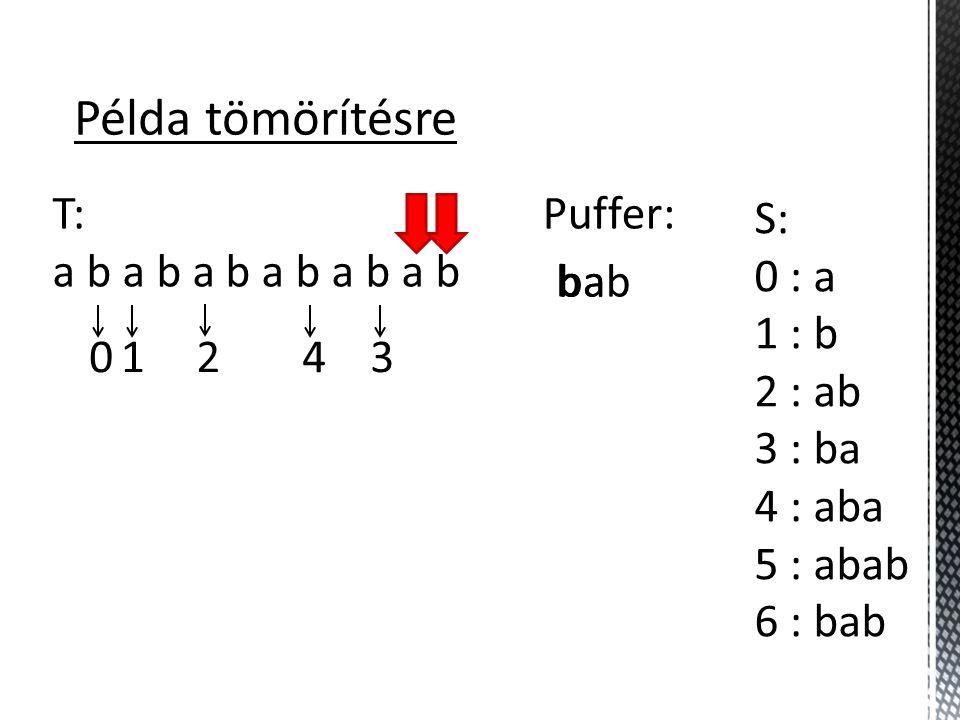 Példa tömörítésre T: a b a b a b S: 0 : a 1 : b 2 : ab 3 : ba 4 : aba 5 : abab 6 : bab Puffer: b 01243 babab