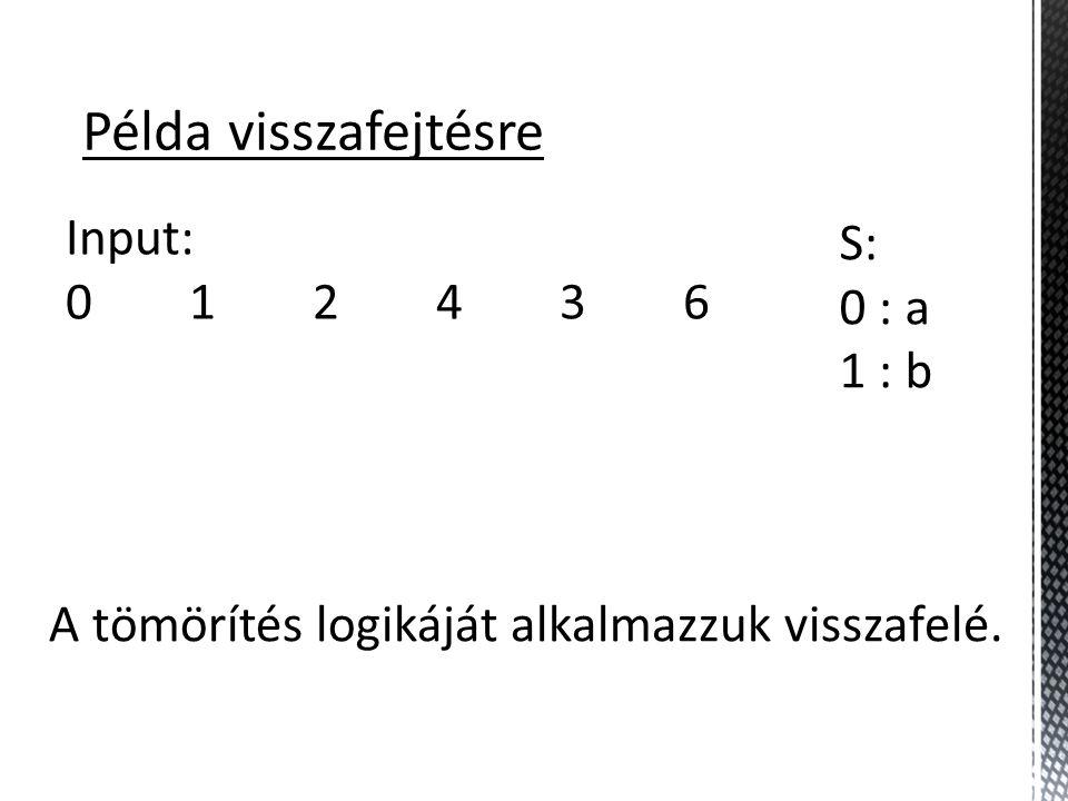 Példa visszafejtésre Input: 0 1 2 4 3 6 S: 0 : a 1 : b A tömörítés logikáját alkalmazzuk visszafelé.