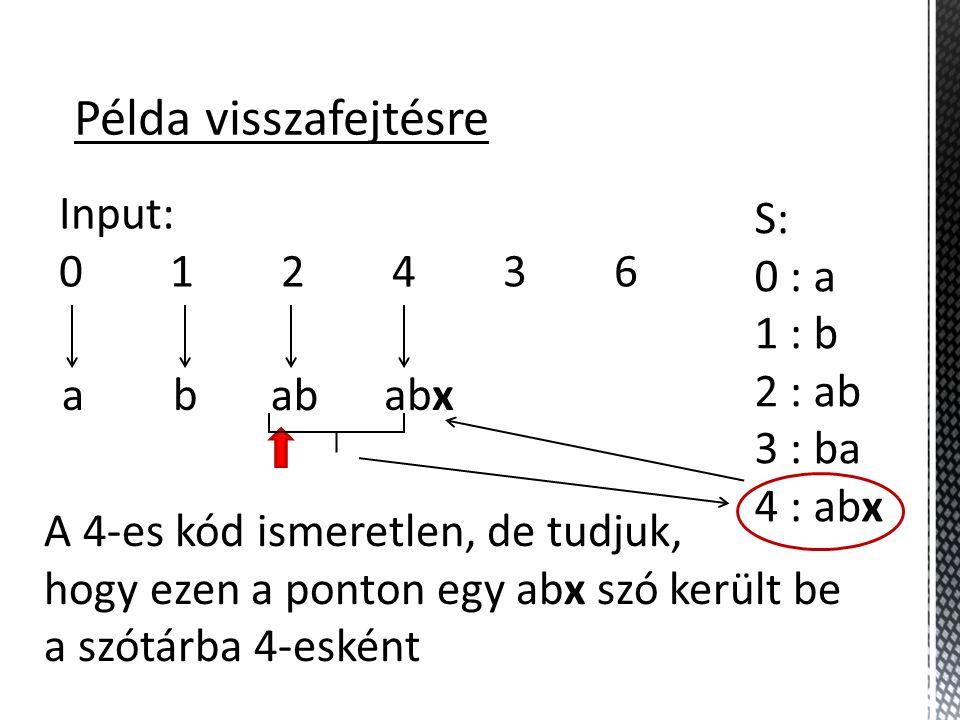 Példa visszafejtésre Input: 0 1 2 4 3 6 S: 0 : a 1 : b 2 : ab 3 : ba 4 : abx ab ab A 4-es kód ismeretlen, de tudjuk, hogy ezen a ponton egy abx szó került be a szótárba 4-esként abx
