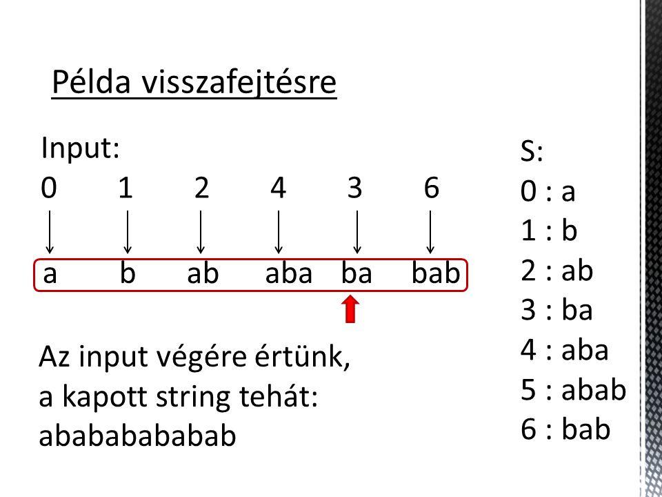 Példa visszafejtésre Input: 0 1 2 4 3 6 S: 0 : a 1 : b 2 : ab 3 : ba 4 : aba 5 : abab 6 : bab ab ab abababab Az input végére értünk, a kapott string tehát: abababababab