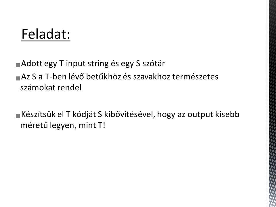 Példa visszafejtésre Input: 0 1 2 4 3 6 S: 0 : a 1 : b A 0-s kód megvan a szótárban, jelentése: a a