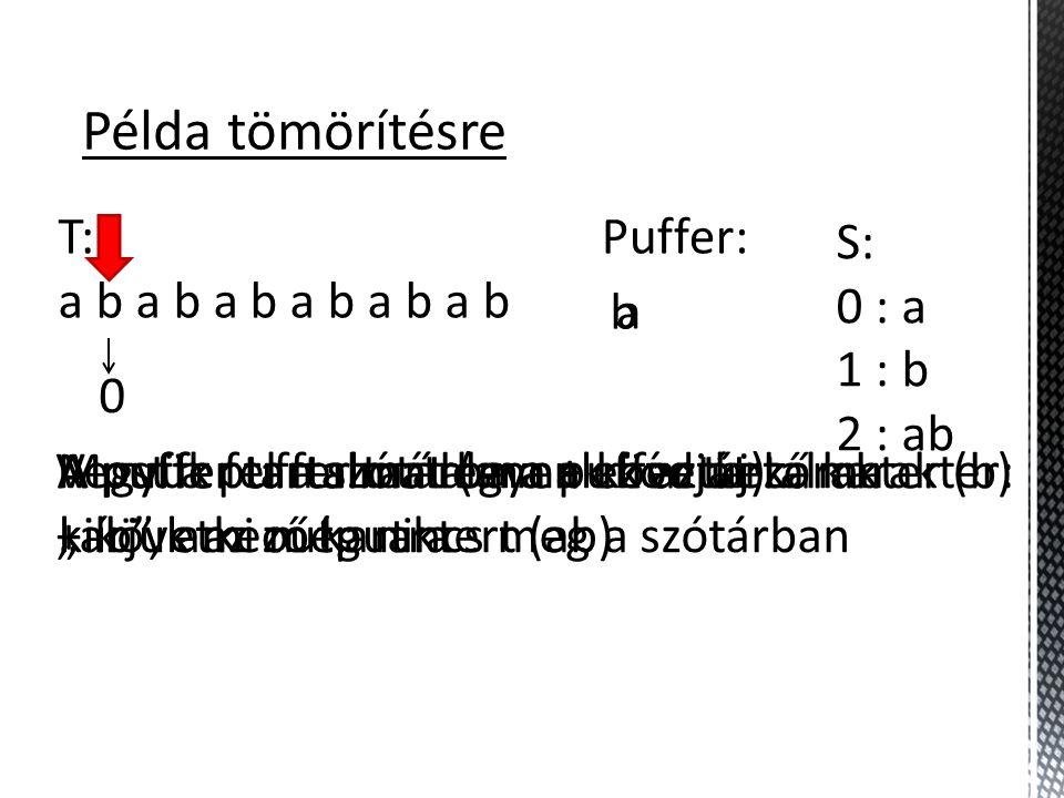 """Példa tömörítésre T: a b a b a b S: 0 : a 1 : b 2 : ab Puffer: a Most a puffer tartalma + következő karakter: """"ab , ami még nincs meg a szótárban A puffer tartalmát (annak kódját) kiírjuk az outputra 0 Vegyük fel a szótárba a puffer tartalma + következő karaktert (ab) A puffer tartalma legyen ez az új karakter (b) b"""