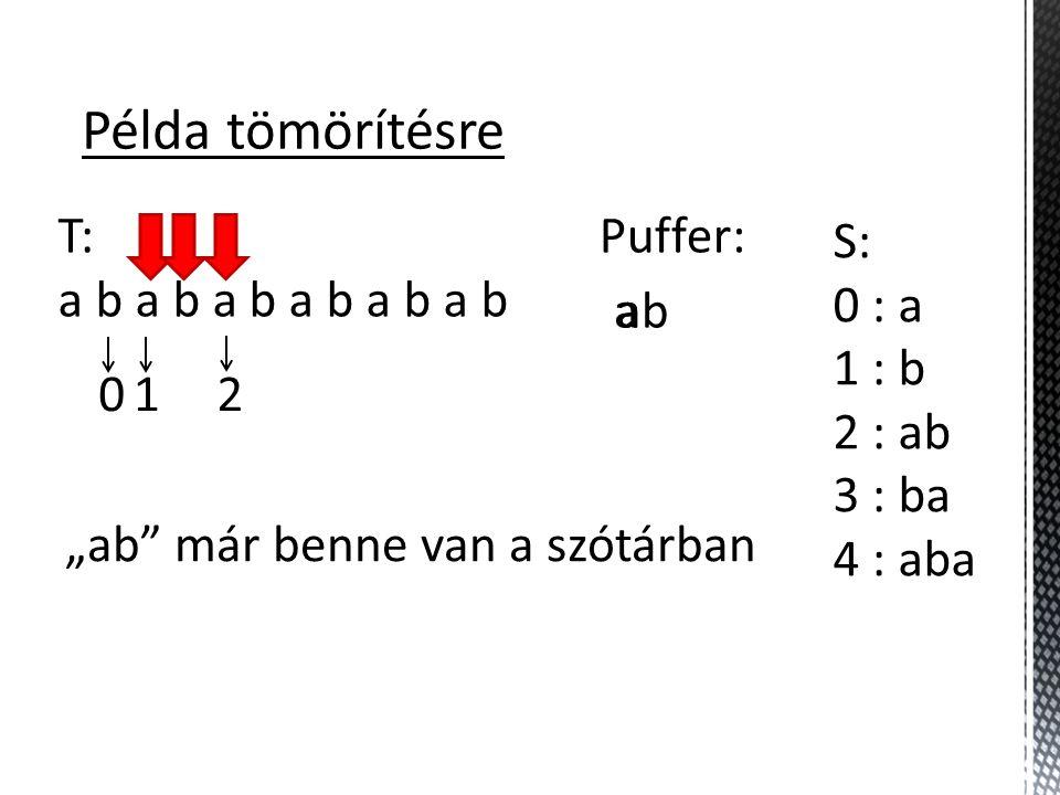 Példa tömörítésre T: a b a b a b S: 0 : a 1 : b 2 : ab 3 : ba 4 : aba 5 : abab Puffer: a 012 ab aba 4 b