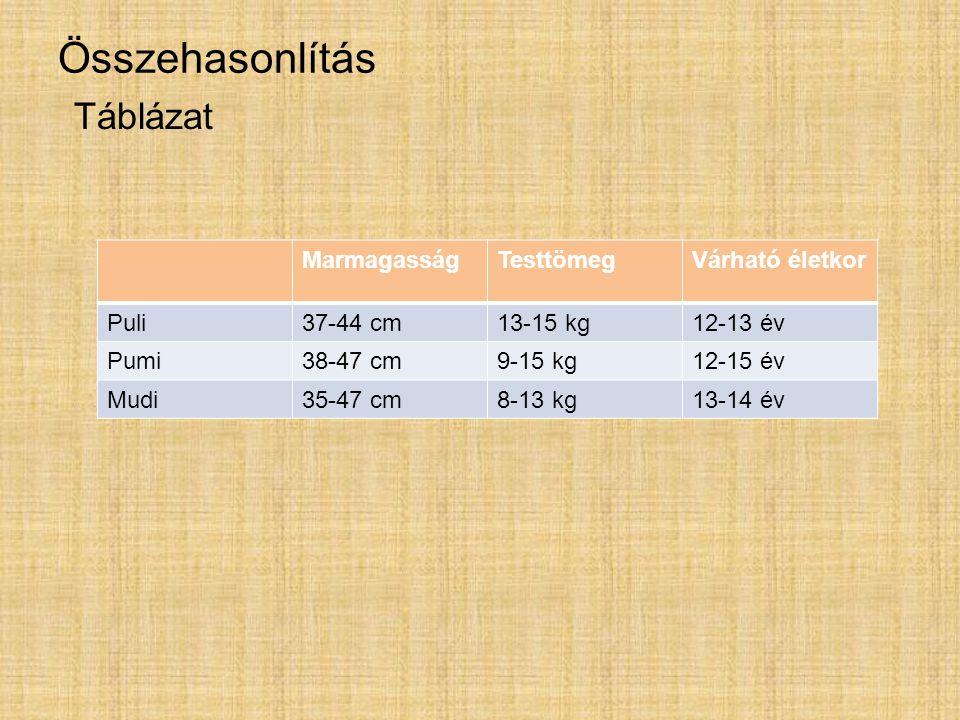 Összehasonlítás Táblázat MarmagasságTesttömegVárható életkor Puli37-44 cm13-15 kg12-13 év Pumi38-47 cm9-15 kg12-15 év Mudi35-47 cm8-13 kg13-14 év