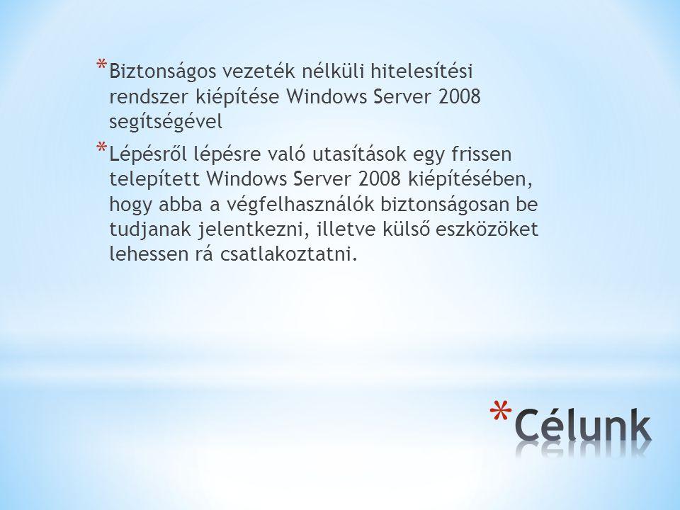 * Biztonságos vezeték nélküli hitelesítési rendszer kiépítése Windows Server 2008 segítségével * Lépésről lépésre való utasítások egy frissen telepített Windows Server 2008 kiépítésében, hogy abba a végfelhasználók biztonságosan be tudjanak jelentkezni, illetve külső eszközöket lehessen rá csatlakoztatni.