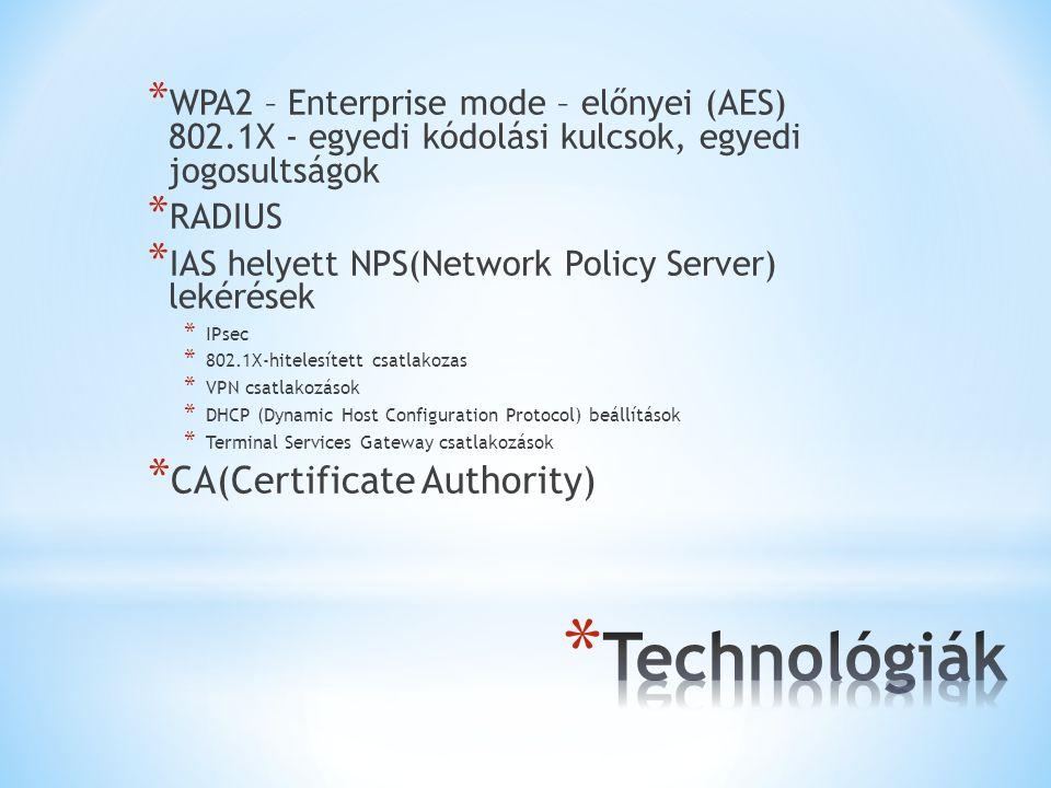 * WPA2 – Enterprise mode – előnyei (AES) 802.1X - egyedi kódolási kulcsok, egyedi jogosultságok * RADIUS * IAS helyett NPS(Network Policy Server) lekérések * IPsec * 802.1X-hitelesített csatlakozas * VPN csatlakozások * DHCP (Dynamic Host Configuration Protocol) beállítások * Terminal Services Gateway csatlakozások * CA(Certificate Authority)