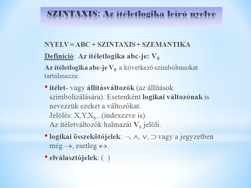 NYELV = ABC + SZINTAXIS + SZEMANTIKA Definíció: Az ítéletlogika abc-je: V 0 Az ítéletlogika abc-je V 0 a következő szimbólumokat tartalmazza: ítélet- vagy állításváltozók (az állítások szimbolizálására).
