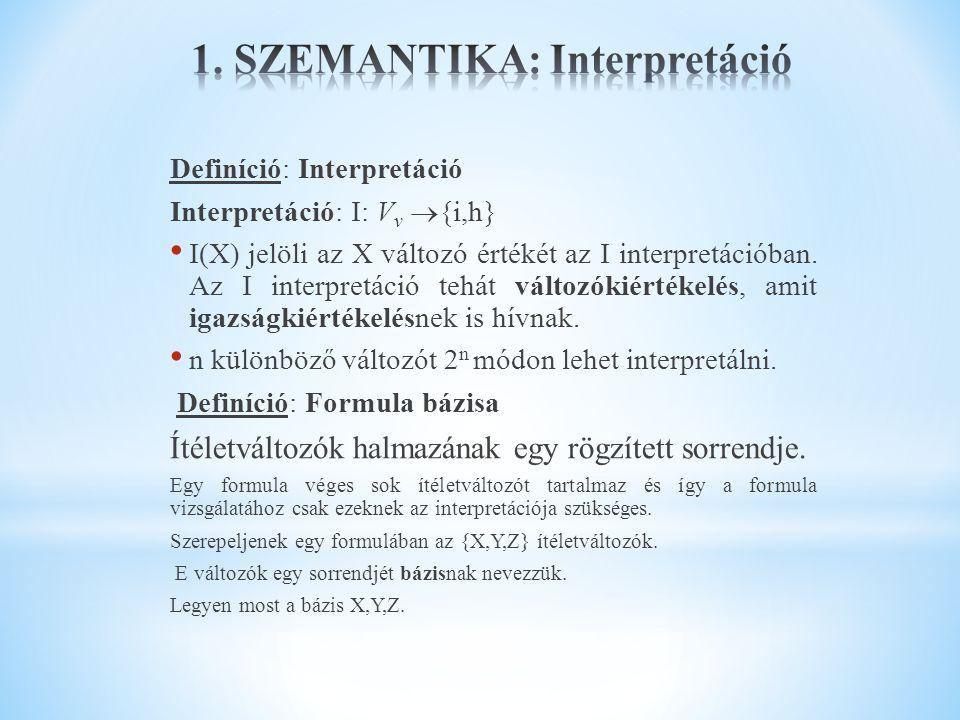 Definíció: Interpretáció Interpretáció: I: V v  {i,h} I(X) jelöli az X változó értékét az I interpretációban. Az I interpretáció tehát változókiérték