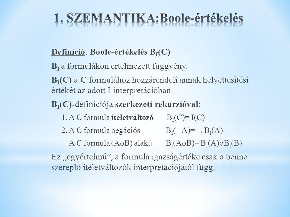 Definíció: Boole-értékelés B I (C) B I a formulákon értelmezett függvény. B I (C) a C formulához hozzárendeli annak helyettesítési értékét az adott I