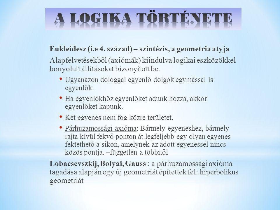 Eukleidesz (i.e 4. század) – szintézis, a geometria atyja Alapfelvetésekből (axiómák) kiindulva logikai eszközökkel bonyolult állításokat bizonyított