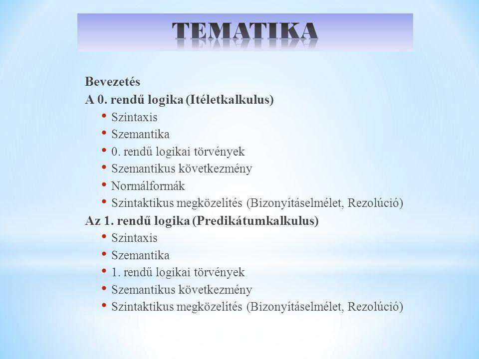Bevezetés A 0. rendű logika (Itéletkalkulus) Szintaxis Szemantika 0. rendű logikai törvények Szemantikus következmény Normálformák Szintaktikus megköz