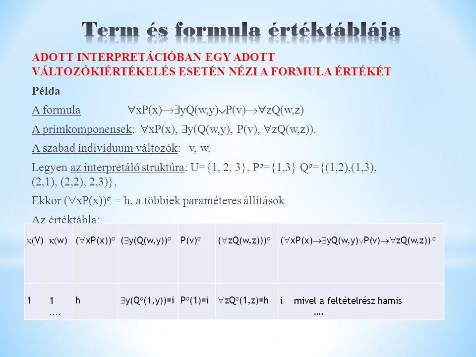 ADOTT INTERPRETÁCIÓBAN EGY ADOTT VÁLTOZÓKIÉRTÉKELÉS ESETÉN NÉZI A FORMULA ÉRTÉKÉT Példa A formula  xP(x)  yQ(w,y)  P(v)  zQ(w,z) A primkomponensek:  xP(x),  y(Q(w,y), P(v),  zQ(w,z)).