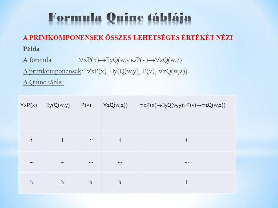 A PRIMKOMPONENSEK ÖSSZES LEHETSÉGES ÉRTÉKÉT NÉZI Példa A formula  xP(x)  yQ(w,y)  P(v)  zQ(w,z) A primkomponensek:  xP(x),  y(Q(w,y), P(v),  zQ(w,z)).