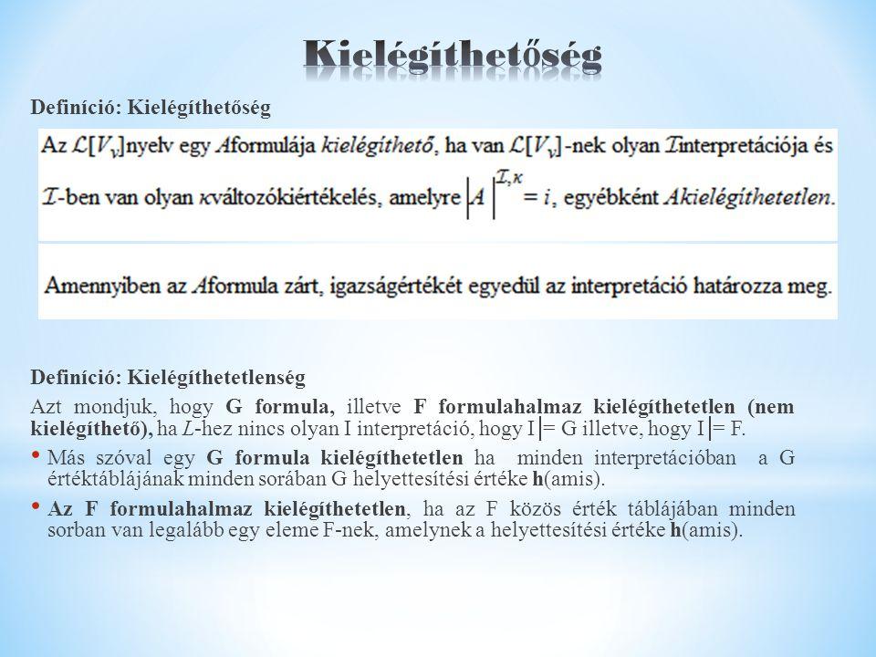 Definíció: Kielégíthetőség Definíció: Kielégíthetetlenség Azt mondjuk, hogy G formula, illetve F formulahalmaz kielégíthetetlen (nem kielégíthető), ha L-hez nincs olyan I interpretáció, hogy I  = G illetve, hogy I  = F.