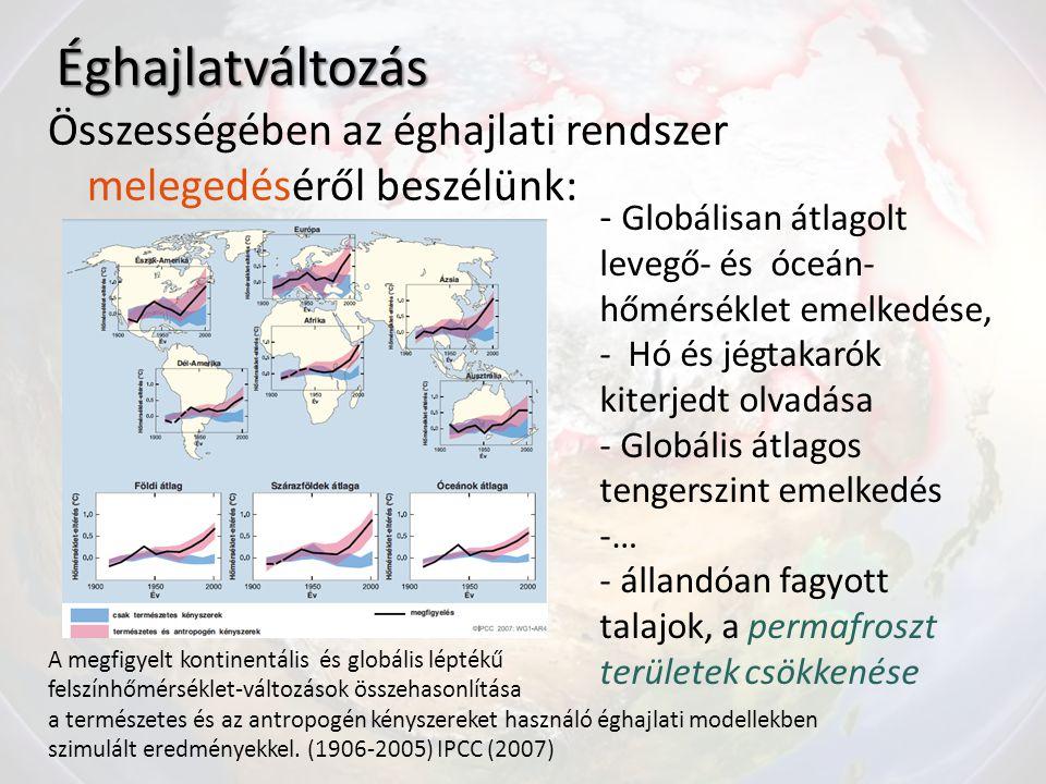 Éghajlatváltozás Összességében az éghajlati rendszer melegedéséről beszélünk: - Globálisan átlagolt levegő- és óceán- hőmérséklet emelkedése, - Hó és jégtakarók kiterjedt olvadása - Globális átlagos tengerszint emelkedés -… - állandóan fagyott talajok, a permafroszt területek csökkenése A megfigyelt kontinentális és globális léptékű felszínhőmérséklet-változások összehasonlítása a természetes és az antropogén kényszereket használó éghajlati modellekben szimulált eredményekkel.