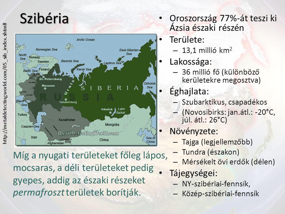 Szibéria Oroszország 77%-át teszi ki Ázsia északi részén Területe: – 13,1 millió km 2 Lakossága: – 36 millió fő (különböző kerületekre megosztva) Éghajlata: – Szubarktikus, csapadékos – (Novosibirks: jan.átl.: -20°C, júl.