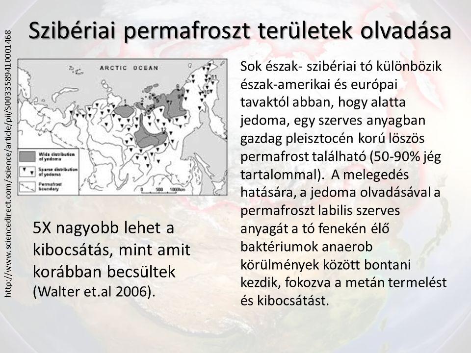 Szibériai permafroszt területek olvadása Légifelvételek, távérzékelők, egész éves folyamatos mérések 2 olvadó észak-szibériai tó metán kibocsátásának mérésére Hotspotok mentén buborékcsapdákat helyeztek el (esernyő alakú, 1 m átmérőjű lebegő csapdák) Elmúlt évtizedekben 58%-al nőtt a tavak metán kibocsátása, ami a globális felmelegedés visszajelzése – 14, 7%-os tó növekedés 1,4 Tg CH 4 /év kibocsátás különbséget eredményezett 1974 (2, 4 Tg CH 4 /év) és 2000 (3,8 Tg CH4 / év) között a, térkép és hőmérséklet változás; b,c,d, légifelvételek; e,Hotspot (Walter et al.