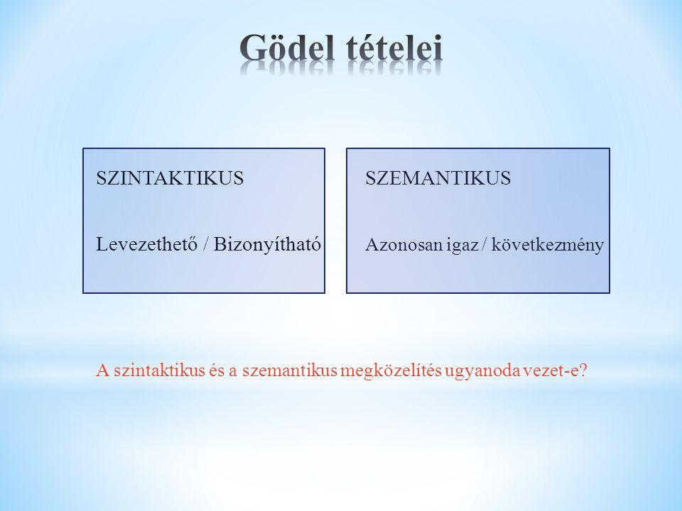 """NYELV = ABC + SZINTAXIS + SZEMANTIKA Abc Logikai rész: , , , , , ,  Indivídum változók (X, Y, …) – megszámlálhatóan végtelen, adott fajtájúak Elválasztó jelek (""""("""" """") ) (ítélet változók) Logikán kívüli rész: Függvény, predikátum és konstans szimbólumok Elemfajták halmaza"""
