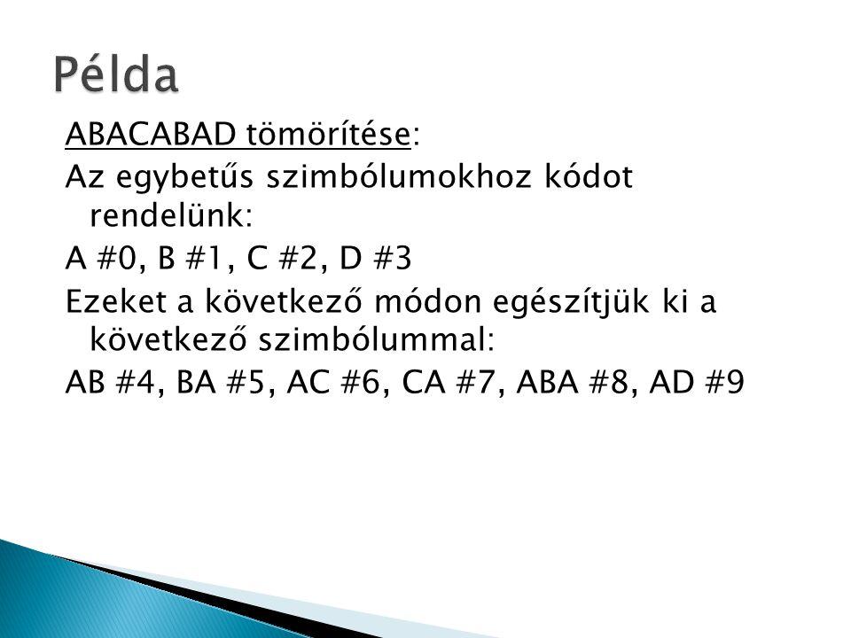 ABACABAD tömörítése: Az egybetűs szimbólumokhoz kódot rendelünk: A #0, B #1, C #2, D #3 Ezeket a következő módon egészítjük ki a következő szimbólummal: AB #4, BA #5, AC #6, CA #7, ABA #8, AD #9