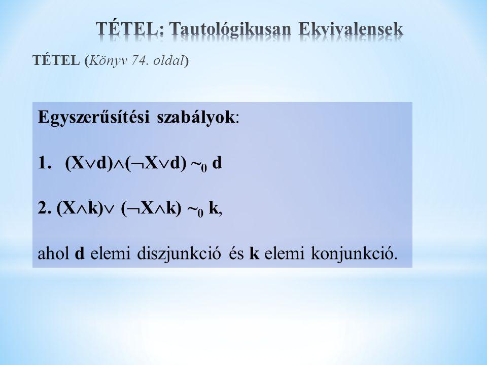 . Egyszerűsítési szabályok: 1.(X  d)  (  X  d) ~ 0 d 2. (X  k)  (  X  k) ~ 0 k, ahol d elemi diszjunkció és k elemi konjunkció.