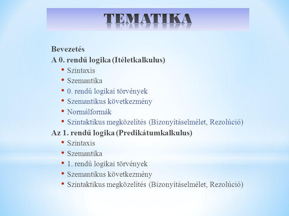 Bevezetés A 0.rendű logika (Itéletkalkulus) Szintaxis Szemantika 0.