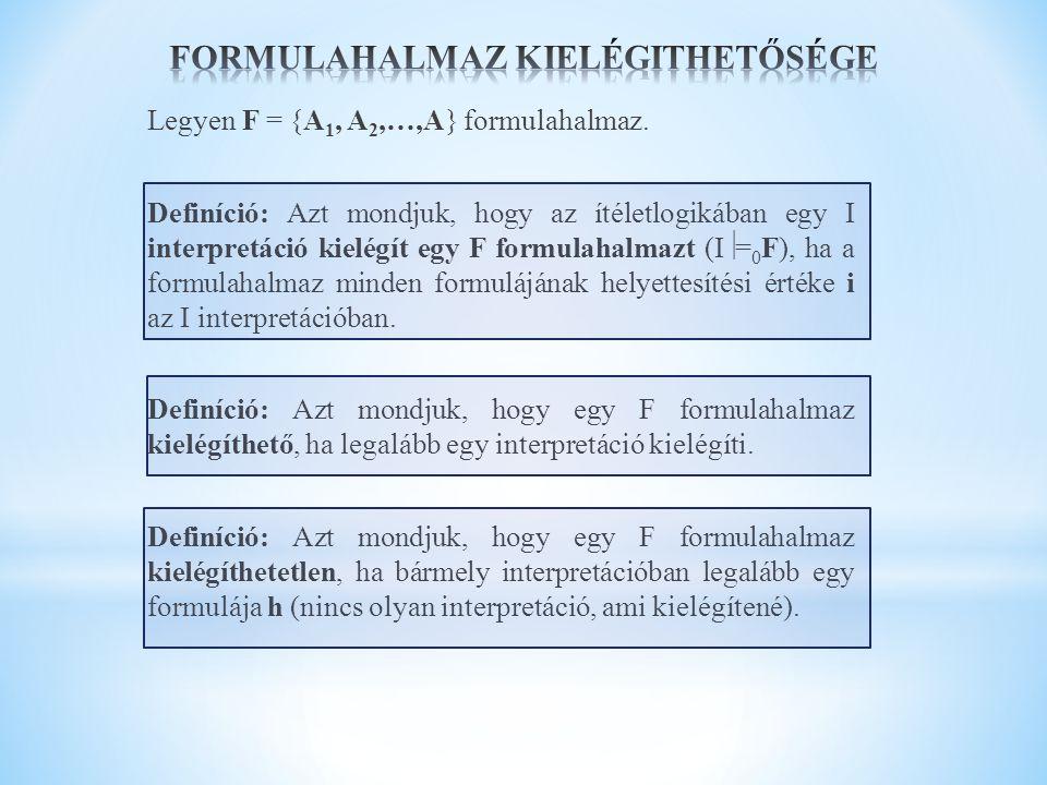 Legyen F = {A 1, A 2,…,A} formulahalmaz. Definíció: Azt mondjuk, hogy az ítéletlogikában egy I interpretáció kielégít egy F formulahalmazt (I  = 0 F)