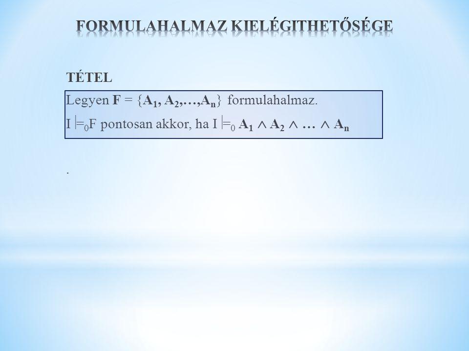 TÉTEL Legyen F = {A 1, A 2,…,A n } formulahalmaz. I  = 0 F pontosan akkor, ha I  = 0 A 1  A 2  …  A n.