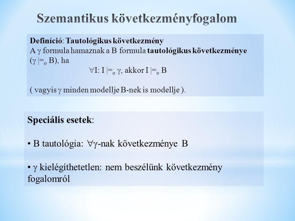 Definíció: Tautológikus következmény A  formula hamaznak a B formula tautológikus következménye (   = o B), ha  I: I  = o , akkor I  = o B ( vagyis  minden modellje B-nek is modellje ).