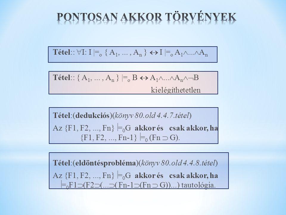 Tétel::  I: I |= o { A 1,..., A n }  I |= o A 1 ...  A n Tétel:: { A 1,..., A n } |= o B  A 1 ...  A n  B kielégíthetetlen Tétel:(dedukciós)(