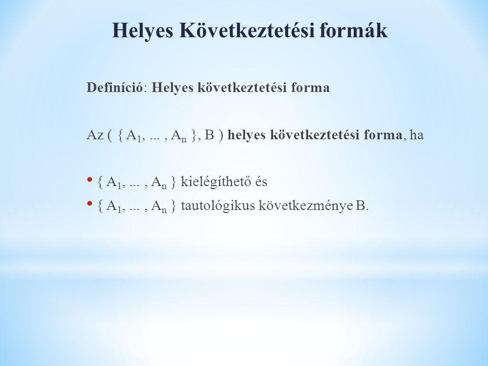 Helyes Következtetési formák Definíció: Helyes következtetési forma Az ( { A 1,..., A n }, B ) helyes következtetési forma, ha { A 1,..., A n } kielégíthető és { A 1,..., A n } tautológikus következménye B.