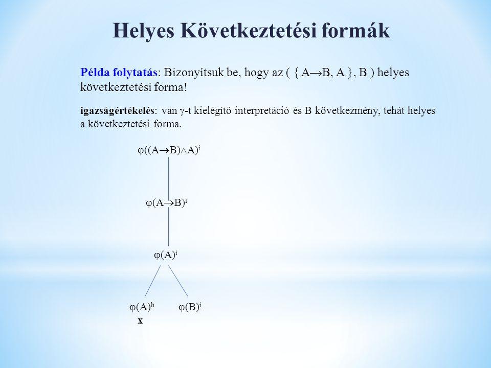 Helyes Következtetési formák Példa folytatás: Bizonyítsuk be, hogy az ( { A  B, A }, B ) helyes következtetési forma! igazságértékelés: van  -t kiel