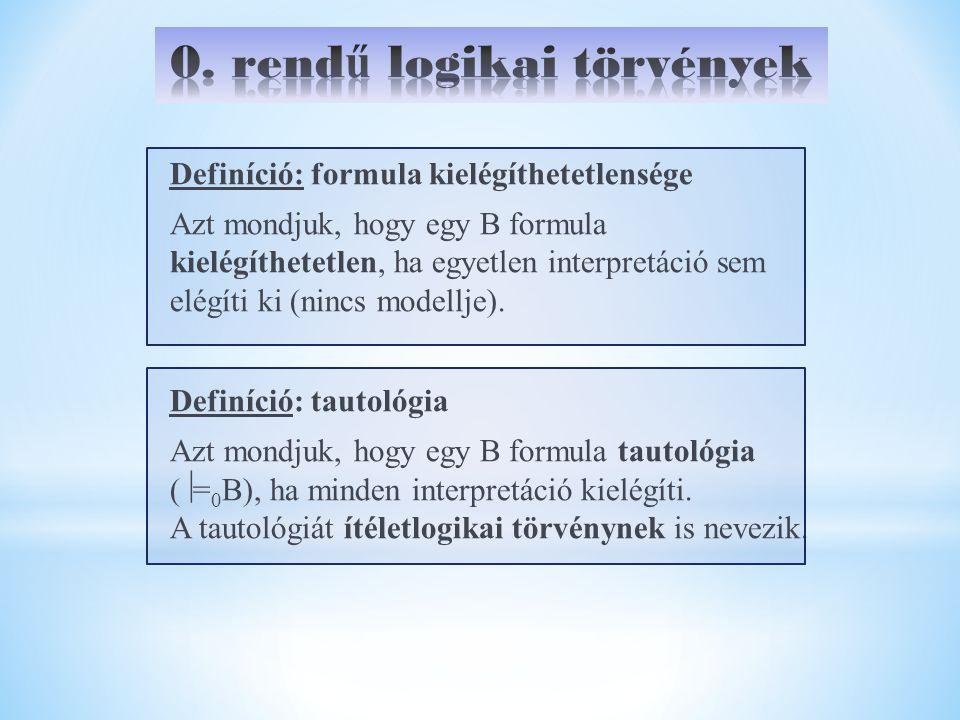 Definíció: formula kielégíthetetlensége Azt mondjuk, hogy egy B formula kielégíthetetlen, ha egyetlen interpretáció sem elégíti ki (nincs modellje).