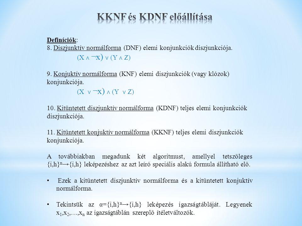 Definíciók: 8. Diszjunktív normálforma (DNF) elemi konjunkciók diszjunkciója. (X ˄ ¬x) ˅ (Y ˄ Z) 9. Konjuktív normálforma (KNF) elemi diszjunkciók (va