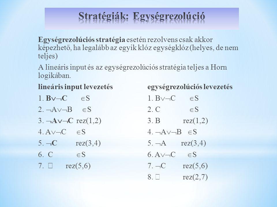 Egységrezolúciós stratégia esetén rezolvens csak akkor képezhető, ha legalább az egyik klóz egységklóz (helyes, de nem teljes) A lineáris input és az egységrezolúciós stratégia teljes a Horn logikában.