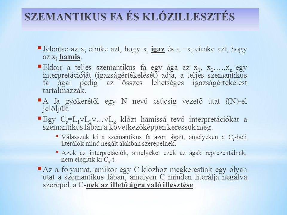  Jelentse az x i címke azt, hogy x i igaz és a ¬x i címke azt, hogy az x i hamis.  Ekkor a teljes szemantikus fa egy ága az x 1, x 2,…,x n egy inter