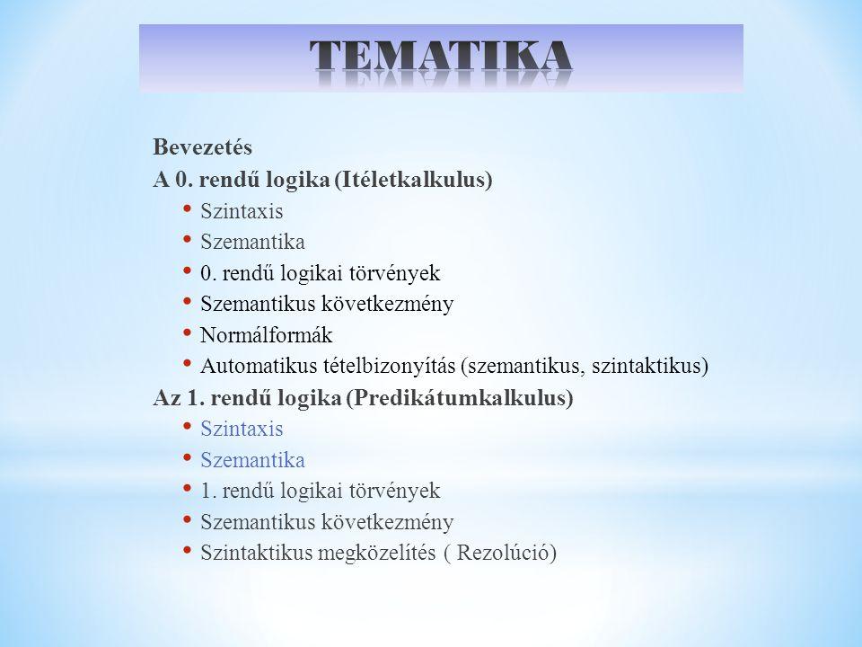 Bevezetés A 0. rendű logika (Itéletkalkulus) Szintaxis Szemantika 0. rendű logikai törvények Szemantikus következmény Normálformák Automatikus tételbi