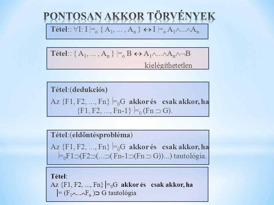 Tétel::  I: I |= o { A 1,..., A n }  I |= o A 1 ...  A n Tétel:: { A 1,..., A n } |= o B  A 1 ...  A n  B kielégíthetetlen Tétel:(dedukciós)