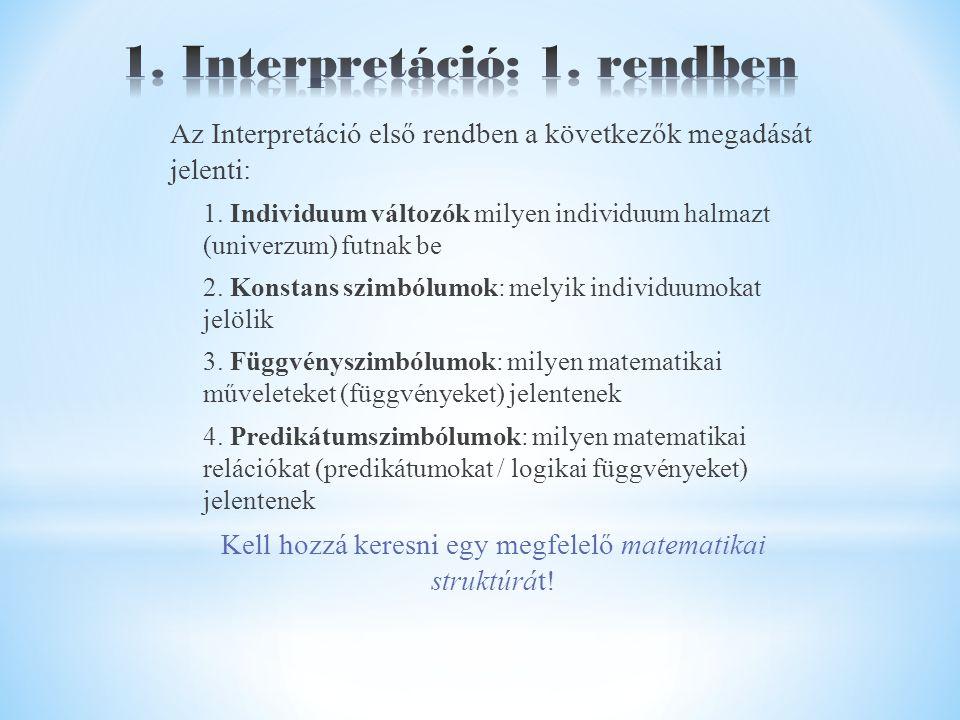 Az Interpretáció első rendben a következők megadását jelenti: 1.