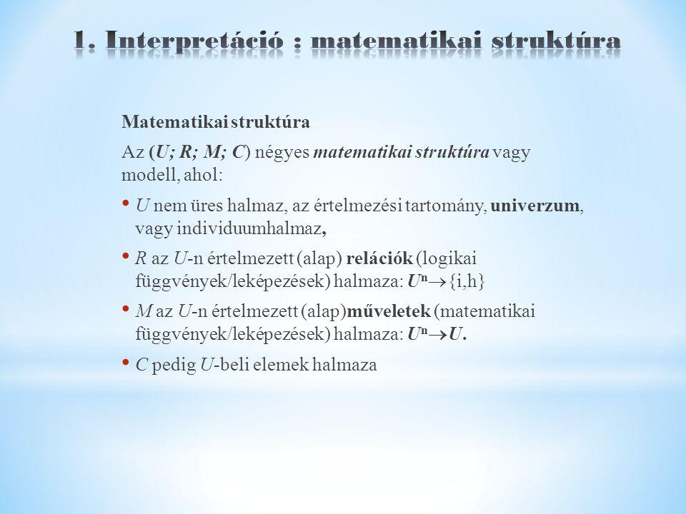 Matematikai struktúra Az (U; R; M; C) négyes matematikai struktúra vagy modell, ahol: U nem üres halmaz, az értelmezési tartomány, univerzum, vagy individuumhalmaz, R az U-n értelmezett (alap) relációk (logikai függvények/leképezések) halmaza: U n  {i,h} M az U-n értelmezett (alap)műveletek (matematikai függvények/leképezések) halmaza: U n  U.
