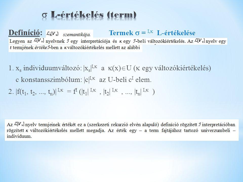 Definíció: Termek  = I,  L-értékelése 1.