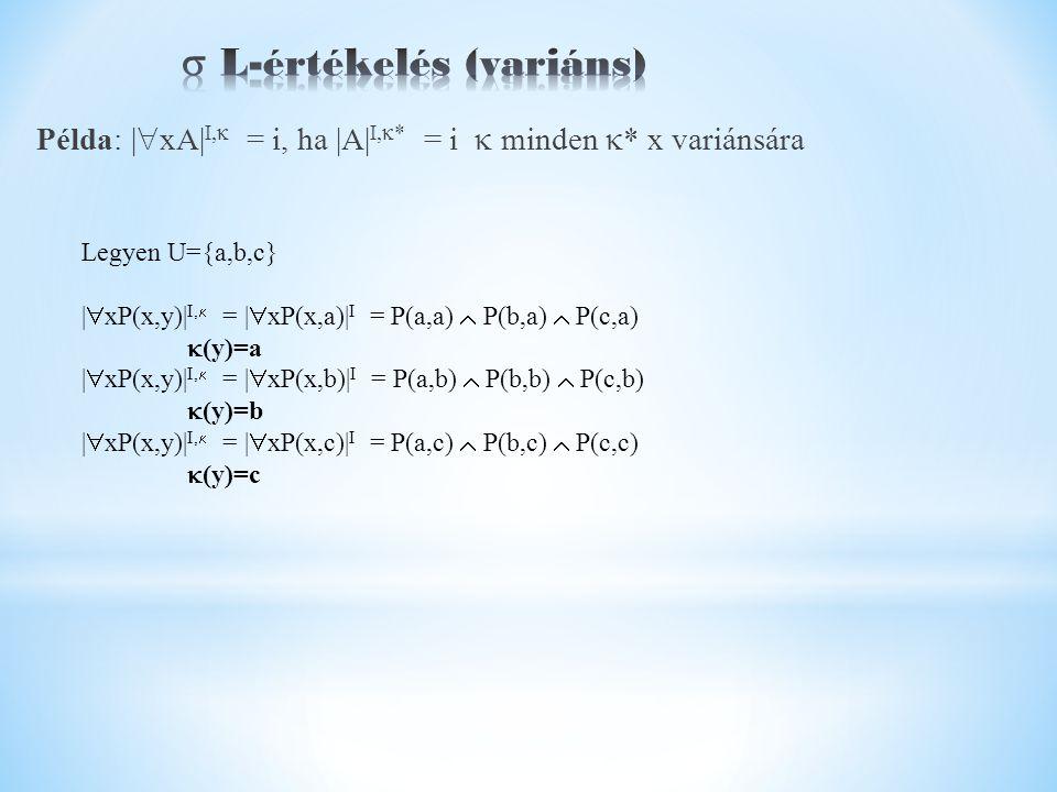 Példa: |  xA| I,  = i, ha |A| I,  * = i  minden  * x variánsára Legyen U={a,b,c} |  xP(x,y)| I,  = |  xP(x,a)| I = P(a,a)  P(b,a)  P(c,a)  (y)=a |  xP(x,y)| I,  = |  xP(x,b)| I = P(a,b)  P(b,b)  P(c,b)  (y)=b |  xP(x,y)| I,  = |  xP(x,c)| I = P(a,c)  P(b,c)  P(c,c)  (y)=c
