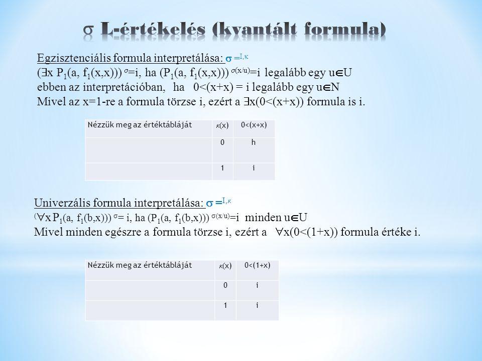 Nézzük meg az értéktábláját  ( x) 0<(x+x) 0h 1i Nézzük meg az értéktábláját  ( x) 0<(1+x) 0i 1i Univerzális formula interpretálása:  = I,  (  x P 1 (a, f 1 (b,x)))  = i, ha (P 1 (a, f 1 (b,x)))  (x/u) = i minden u  U Mivel minden egészre a formula törzse i, ezért a  x(0<(1+x)) formula értéke i.