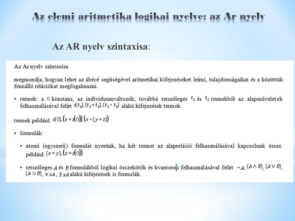 Az AR nyelv szintaxisa: