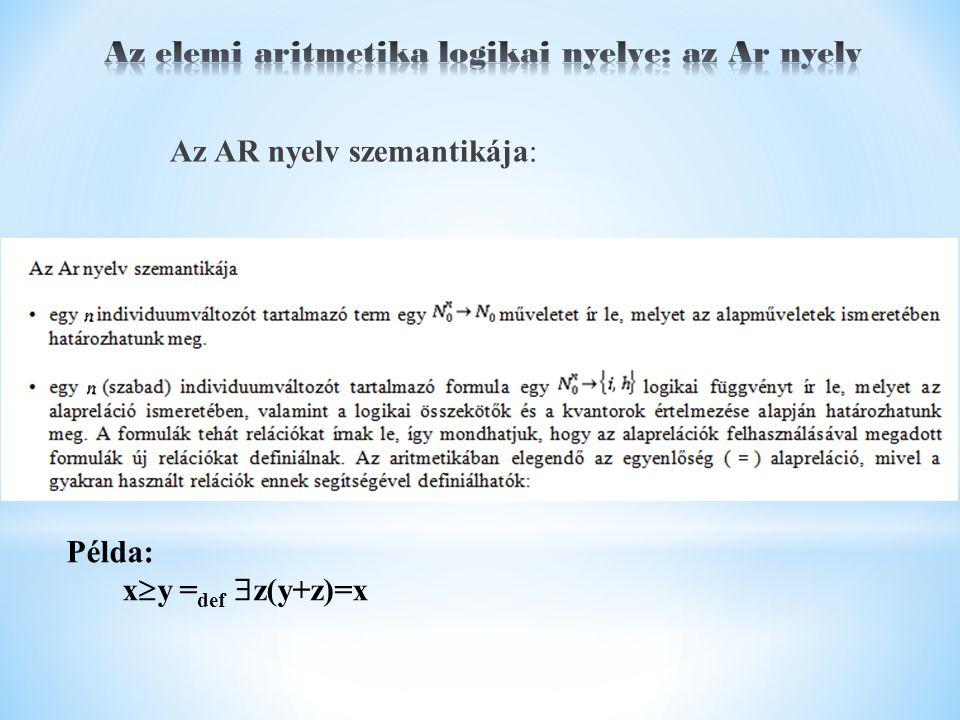 Az AR nyelv szemantikája: Példa: x  y = def  z(y+z)=x