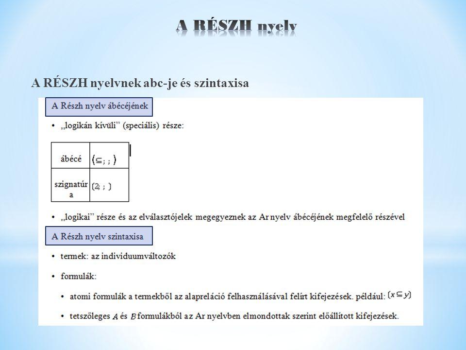 A RÉSZH nyelvnek abc-je és szintaxisa
