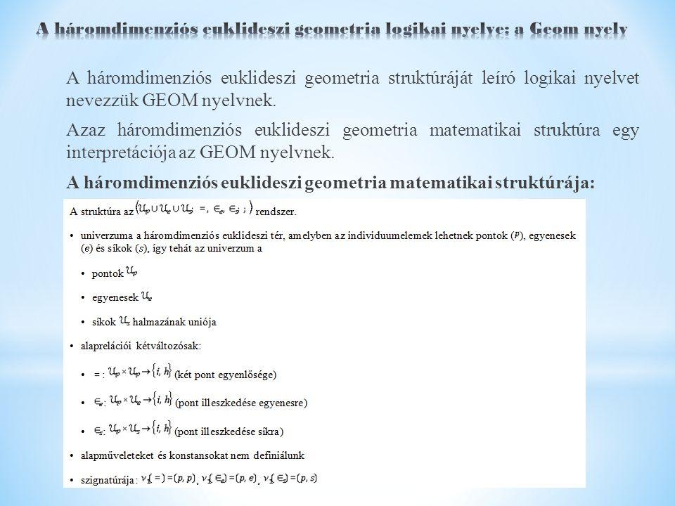 A háromdimenziós euklideszi geometria struktúráját leíró logikai nyelvet nevezzük GEOM nyelvnek.